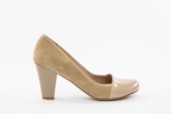 Дамски елегантни обувки в комбинация от велур и лак