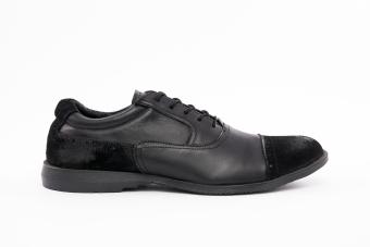 Мъжки спортно-елегантни обувки от естествена кожа и естествен велур