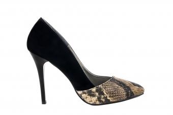 Дамски елегантни обувки от велур и еко кожа