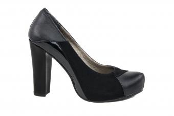 Дамски елегантни обувки от естествена кожа и естествен велур