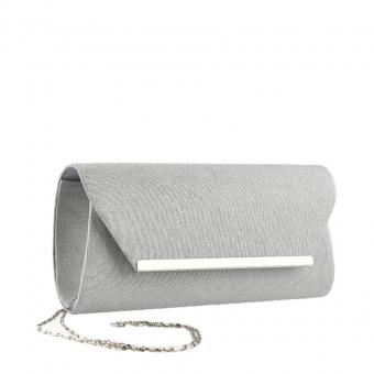 Дамска елегантна чанта сребриста