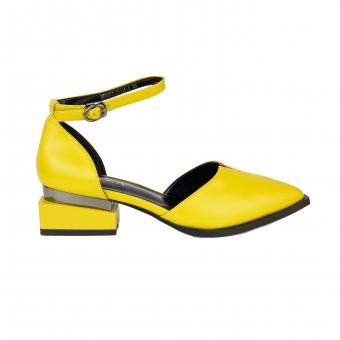 Дамски елегантни сандали от еко кожа в цвят горчица