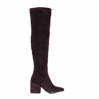 Дамски елегантни чизми от велур в тъмнолилав цвят